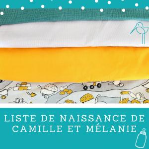 Liste de naissance de Camille et Mélanie
